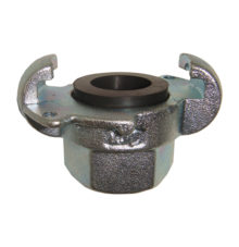 Female thread coupling with holes for safety clips
