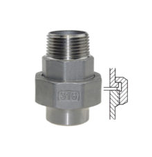 Union male thread and welding end flat seat made of stainless steel