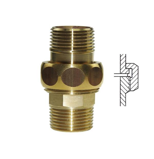 PURAFIT Union, flat seal, M x M made of brass