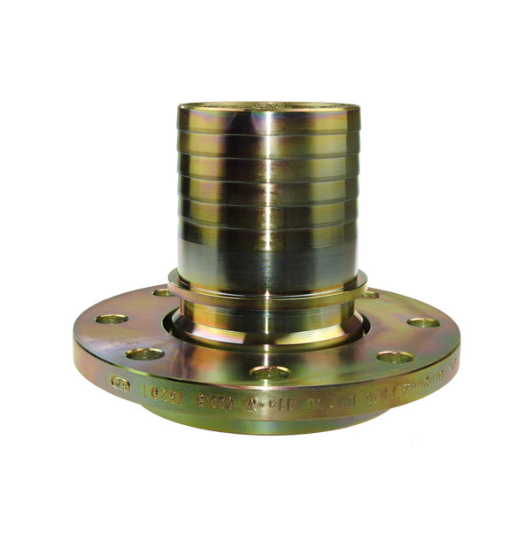Swivel flange hose connector with collar for safety clamp
