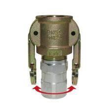 Coupler rotatable with female thread or hose stem, 2-handles