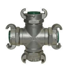 X-branch with 4 assembled couplings made of stainless steel
